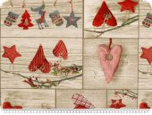 Deco fabric, christmas fabric, patch, hearts, sand-red, 140c