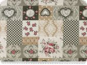 Deco fabric 'Romantic',  loneta,  roses and hearts, 140cm
