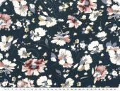 Viscose fabric, flowers, navy, 150cm