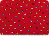 Children fabric, cotton jersey, apple, red 148cm