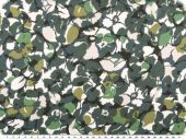 Satinlike polyester fabric,flowers, green multicolour, 145cm