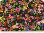 Twill print, flowers, multicolour, 150cm