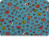 Children fab., cotton jersey, birds and flowers,150cm