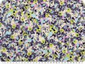 Cotton fabric, linen structure, flowers, multicolour, 142cm