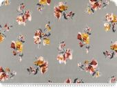 Chiffon-print, flowers, grey-multicolour, 146cm