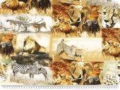 Cotton print, africa's wildlife, multicolour,  155cm