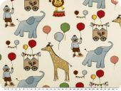 Deco fabric, animals and balloons, white-multicolour, 160cm
