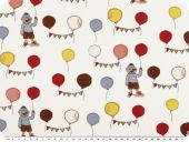 Deco fabric, balloons and bear, ecru-multicolour, 140cm