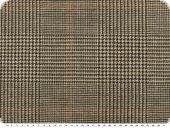 Linen blended fabric, houndstooth-checks, brown-beige, 155cm