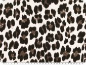 Viscose print, fur pattern, elastic, white-brown, 180cm