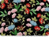 Flower print, blouse fabric, black-multicolour, 150cm