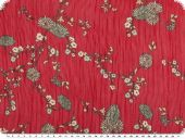 Flower print, chiffon like, red-white, 150cm
