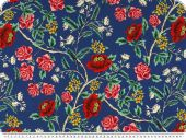 Blouse fabric, flower print, blue-red, 150cm