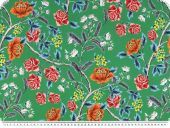 Blouse fabric, flower print, green-red, 150cm