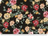 Light flower fabric, böouse fabric, black-multicolour