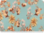 Blouse fabric, flowers, turquoise-orange, 148cm