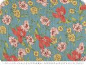 Flower print, chiffon like, blue-red-yellow, 150cm