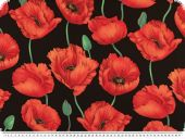 Blouse fabric, poppies, black-red,  147cm