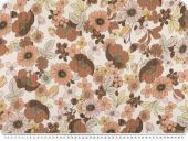 Flower print, chiffon like, white-brown-yellow, 150cm