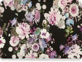 Viscose print, elastic, flowers, black-white-orchid