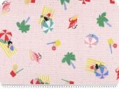 Cotton fabric,  beach motifs, rose-pink, multicolour, 135cm