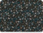 Jacket fabric with Lurex, flowers  black-turquoise-gold 150c