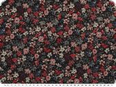 Jacket fabric with Lurex, flowers  black-red-blue, 150cm