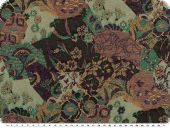 Cotton blend with Lurex, flowers, mit-violet-black