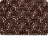 Cotton blend, semicircles, black-brown-violet, 150cm