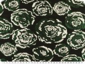 Lurex fabric , for jackets, flowers, black-green-ecru, 150cm