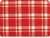 Deco-upholstery fabric, checkered, red-ecru, 125cm