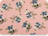Cotton print, flowers, rose pink-blue, 140cm