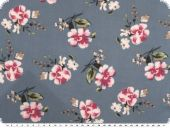 Cotton print, flowers, light grey-red, 140cm