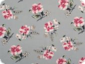 Cotton print, flowers, jeans blue-red, 140cm