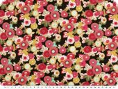 Cotton print, flowers, red-multicolour, 140cm