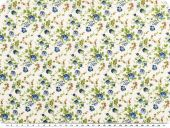 Cotton print, flowers, white-blue, 140cm