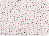 Cotton print, small hearts, white-rose pink, 140cm