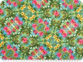 Blouse fabric, microfiber, flowers, blue-green-pink, 148cm