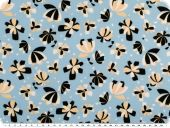 Microfibre blouse fabric, flowers, blue-beige-black, 148cm