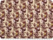 Viscose fabric, flowers ans parrots, sand-dark red, 143cm