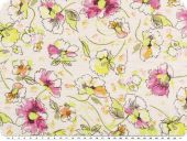 Blouse fabric, flowers, nude-yellow-violet, 150cm