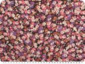 Fine Cambric fabric, flowers, pink-violet, 150cm