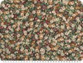 Fine Cambric fabric, flowers, green-brown, 150cm