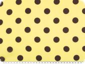 Chiffon fabric, big dots, brown on yellow, 150cm