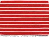 Striped cotton jersey, red-white, ca. 180cm