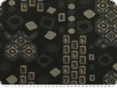 Knitware print, geom. pattern, black-gold, 150cm