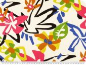 Deco fabric, flowers, ecru white - multicolour, 140cm
