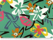 Deco fabric, flowers, turquoise - multicolour, 140cm
