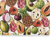 Half panama deco fabric, digital print, tropical fruits