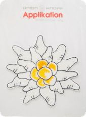 Classy edelweiss appliqu�, fusible, white yellow, ca. 11cm